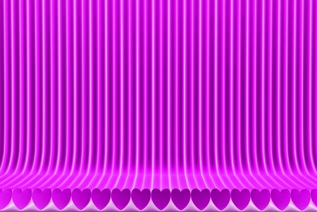 nice pink 3D Illustration of abstract background - geometric surfaces formed with extruded heart shape, 14th february concept Stock Photo