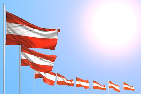 pretty anthem day flag 3d illustration  - many Austria flags placed diagonal on blue sky with place for content