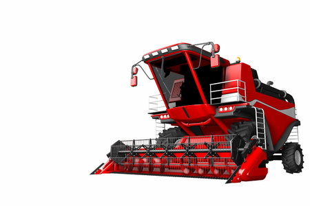 single red wheat combine harvester isolated on white background - farm machine, industrial 3D illustration 免版税图像