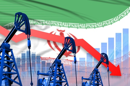 Iran oil industry concept, industrial illustration - lowering, falling graph on Iran flag background. 3D Illustration