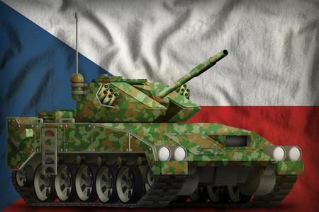 light tank apc with summer camouflage on the Czechia flag background. 3d Illustration Banco de Imagens