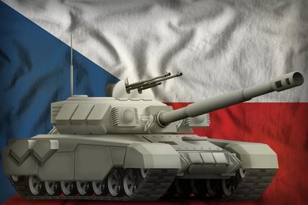 heavy tank on the Czechia flag background. 3d Illustration