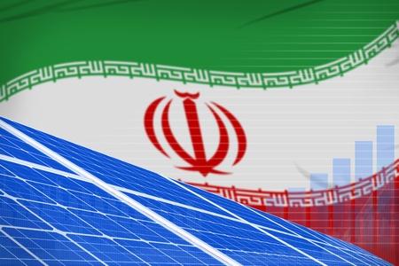 Iran solar energy power digital graph concept  - green energy industrial illustration. 3D Illustration