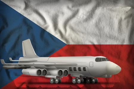 bomber on the Czechia flag background. 3d Illustration