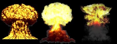 3 large very detailed different phases mushroom cloud explosion of super bomb with smoke and fire isolated on black - 3D illustration of explosion