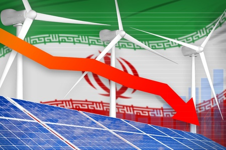 Iran solar and wind energy lowering chart, arrow down  - green energy industrial illustration. 3D Illustration Stok Fotoğraf