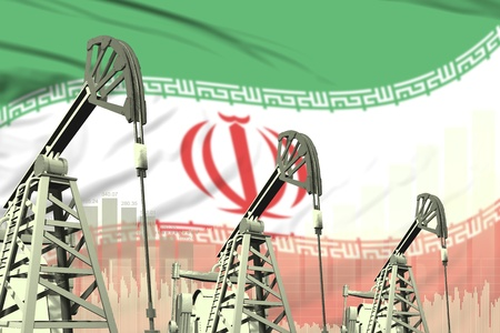 Iran oil and petrol industry concept, industrial illustration on Iran flag background. 3D Illustration