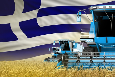 3 blue modern combine harvesters with Greece flag on grain field - close view, farming concept - industrial 3D illustration