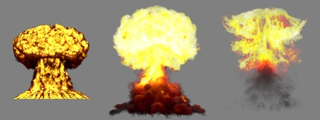 3 big high detailed different phases mushroom cloud explosion of nuclear bomb with smoke and fire isolated on grey - 3D illustration of explosion