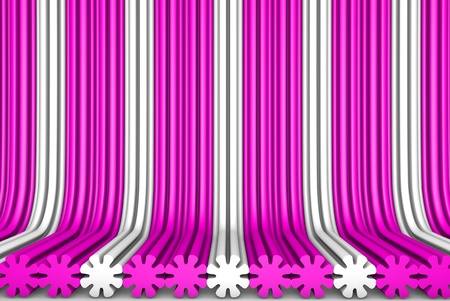 cute pink 3D Illustration of abstract background - geometric surfaces formed by extruded flower shape, holiday concept