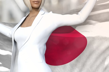 young business lady is holding Japan flag in her hands behind her on the office building background - flag concept 3d illustration Stock Photo