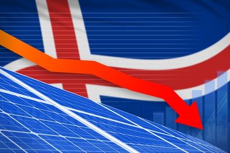 Iceland solar energy power lowering chart, arrow down  - modern energy industrial illustration. 3D Illustration
