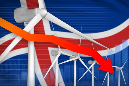 Iceland wind energy power lowering chart, arrow down  - green energy industrial illustration. 3D Illustration