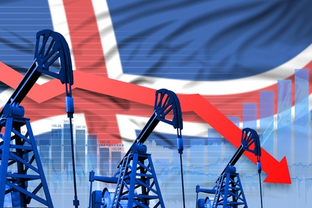 Iceland oil industry concept, industrial illustration - lowering, falling graph on Iceland flag background. 3D Illustration Stock Photo