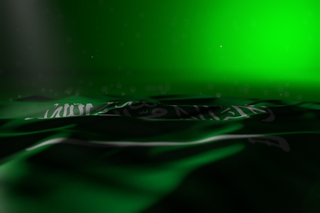 beautiful dark image of Saudi Arabia flag lying flat on green background with soft focus and free place for your text - any occasion flag 3d illustration