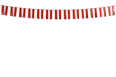 cute many Austria flags or banners hangs on string isolated on white - any feast flag 3d illustration 版權商用圖片