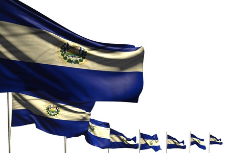 beautiful anthem day flag 3d illustration  - many El Salvador flags placed diagonal isolated on white with space for content Stok Fotoğraf