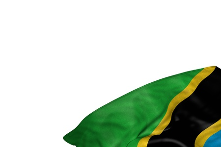cute anthem day flag 3d illustration  - Tanzania flag with big folds lie in bottom right corner isolated on white