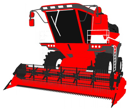 industrial 3D illustration of cartoon colored 3D model of big red grain combine harvester on white, clip art for food industry images