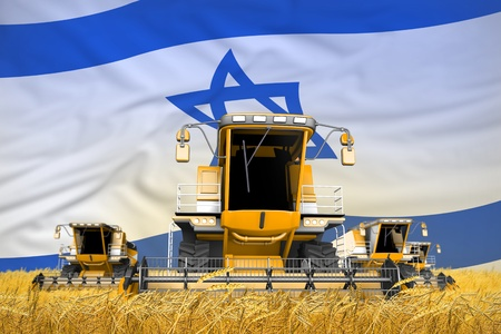 industrial 3D illustration of 4 orange combine harvesters on grain field with flag background, Israel agriculture concept Stock Photo