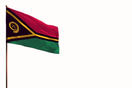 Fluttering Vanuatu flag isolated, mockup with the place for your text on white background.