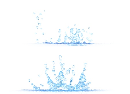 2 side views of nice water splash - 3D illustration, mockup isolated on white - creative illustration Stock Photo