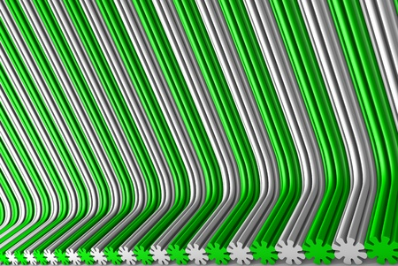 modern green 3D Illustration of abstract background - volumetric surfaces formed by extruded flower shape, celebration concept Banco de Imagens - 123011429