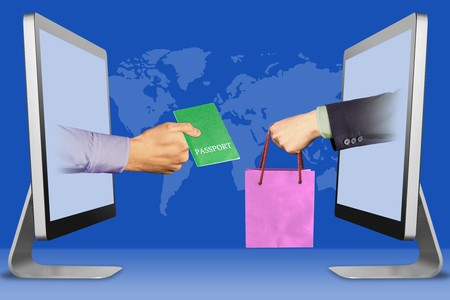e-commerce concept, hands from displays. passport and hand with shopping bag . 3d illustration Banque d'images - 123011447