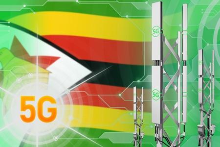 Zimbabwe 5G network industrial illustration, big cellular tower or mast on digital background with the flag - 3D Illustration