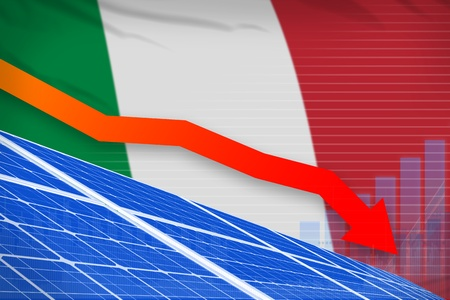 Italy solar energy power lowering chart, arrow down  - environmental energy industrial illustration. 3D Illustration