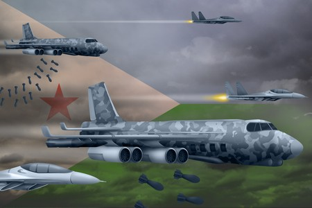 Djibouti bomb air strike concept. Modern Djibouti war airplanes bombing on flag background. 3d Illustration Фото со стока