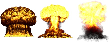 3 huge high detailed different phases mushroom cloud explosion of nuclear bomb with smoke and fire isolated on white - 3D illustration of explosion Banque d'images - 123011528