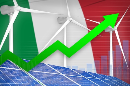 Italy solar and wind energy rising chart, arrow up  - renewable energy industrial illustration. 3D Illustration 版權商用圖片