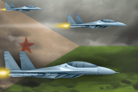 Djibouti air strike concept. Modern war airplanes attack on Djibouti flag background. 3d Illustration