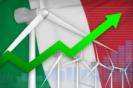 Italy wind energy power rising chart, arrow up  - renewable energy industrial illustration. 3D Illustration