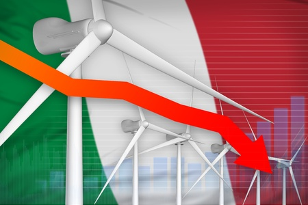 Italy wind energy power lowering chart, arrow down  - alternative energy industrial illustration. 3D Illustration