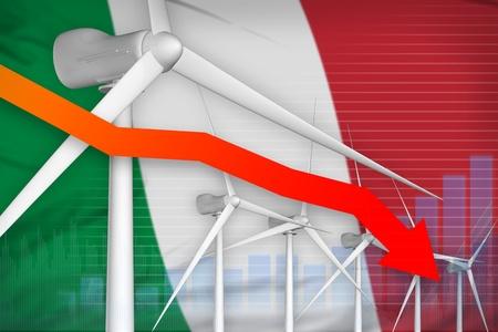 Italy wind energy power lowering chart, arrow down  - alternative energy industrial illustration. 3D Illustration