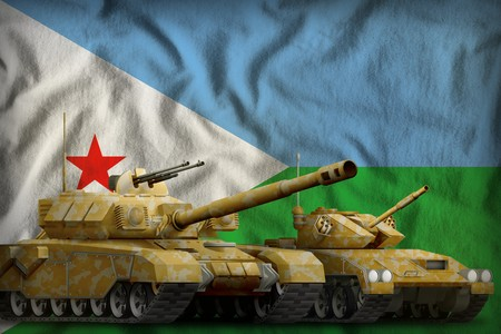 tanks with orange camouflage on the Djibouti flag background. Djibouti tank forces concept. 3d Illustration Stock Photo