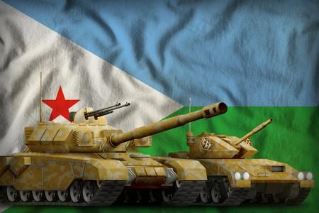 tanks with orange camouflage on the Djibouti flag background. Djibouti tank forces concept. 3d Illustration Stok Fotoğraf