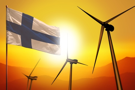 Finland wind energy, alternative energy environment concept with turbines and flag on sunset - alternative renewable energy - industrial illustration, 3D illustration