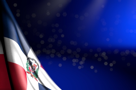 nice celebration flag 3d illustration  - picture of Dominican Republic flag hangs in corner on blue with soft focus and free space for your content