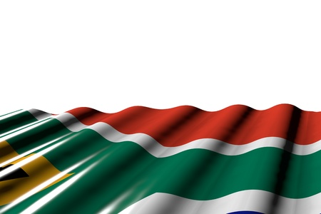 wonderful glossy flag of South Africa with large folds lay at the bottom isolated on white - any feast flag 3d illustration
