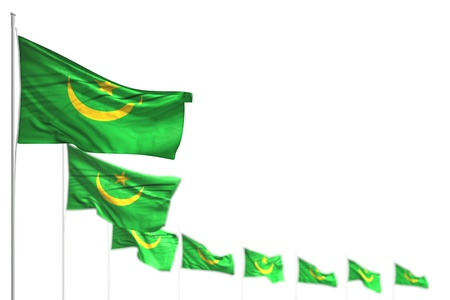 nice Mauritania isolated flags placed diagonal, picture with soft focus and space for content - any holiday flag 3d illustration