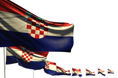 beautiful Croatia isolated flags placed diagonal, illustration with soft focus and space for content - any feast flag 3d illustration
