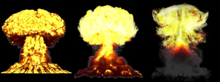 3 big very high detailed different phases mushroom cloud explosion of hydrogen bomb with smoke and fire isolated on black - 3D illustration of explosion