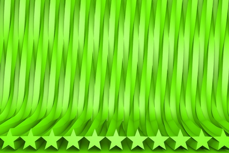 volumetric surfaces formed by extruded star shape, celebration concept - cute green 3D Illustration of abstract background