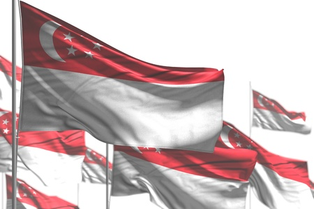 nice many Singapore flags are wave isolated on white - image with soft focus - any holiday flag 3d illustration
