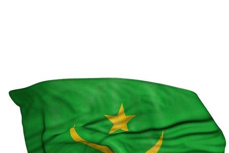 wonderful celebration flag 3d illustration  - Mauritania flag with big folds lying in the bottom isolated on white