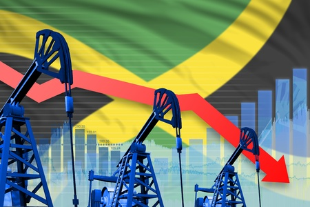 Jamaica oil industry concept, industrial illustration - lowering, falling graph on Jamaica flag background. 3D Illustration Stok Fotoğraf