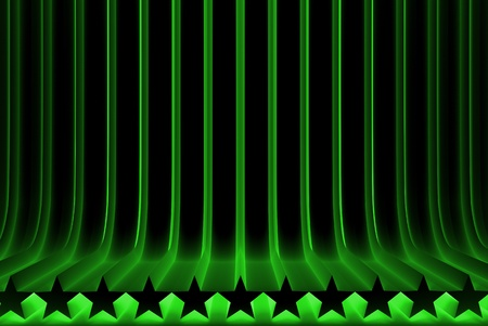 volumetric surfaces formed by extruded star shape, christmass or veterans day concept - modern green 3D Illustration of abstract background Banco de Imagens - 123416255